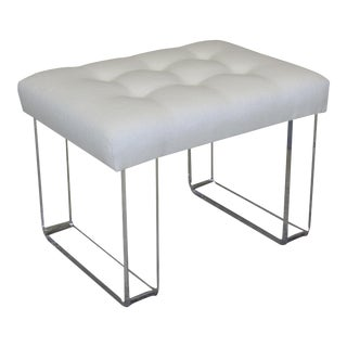 Infinity Style Oatmeal Linen & Lucite Bench For Sale