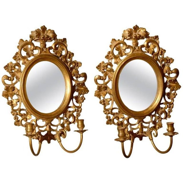Gold Vintage Italian Mirrored Candle Sconces - a Pair For Sale - Image 8 of 8