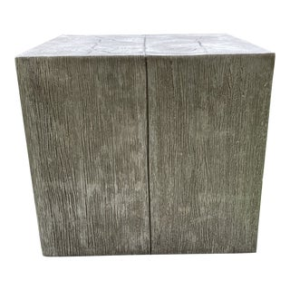 1990s Mid-Century Mod Style Silver Faux Bois Cube Table For Sale