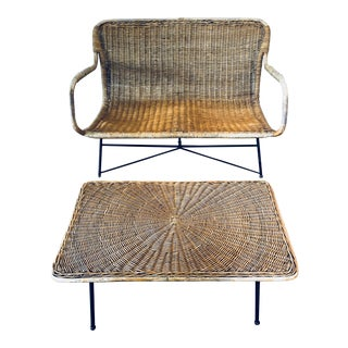 Mid-Century Wicker Rattan Settee & Table