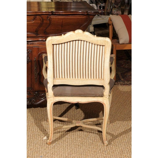 Mid 20th Century Louis XV Style Painted Bergere Chair For Sale - Image 5 of 7