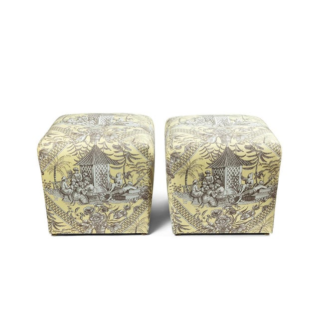 0f Chinoiserie Toile Ottomans - a Pair For Sale - Image 10 of 10