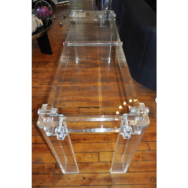 Mid-Century Modern Charles Hollis Jones Style Mid Century Modern Lucite and Glass Console Table For Sale - Image 3 of 6
