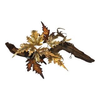 Mid-Century Branch Brass & Copper Leaf Sculpture
