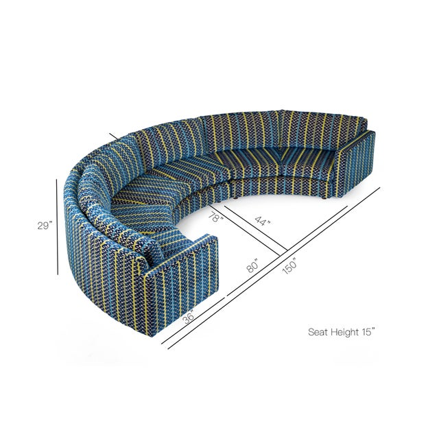 Milo Baughman Curved Sectional Sofa For Sale - Image 12 of 12