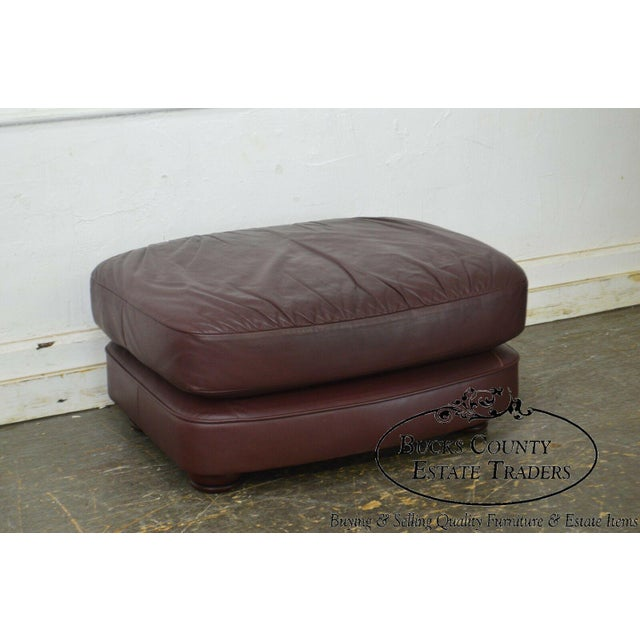 Classic Leather Bun Foot Russet Brown Leather Ottoman For Sale In Philadelphia - Image 6 of 13