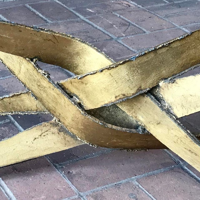 1960s Silas Seandel Brutalist Gold Metal + Glass Coffee Table For Sale In Phoenix - Image 6 of 7