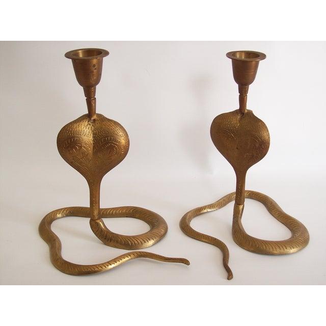 Vintage Brass Cobra Snake Candlesticks - A Pair - Image 6 of 9