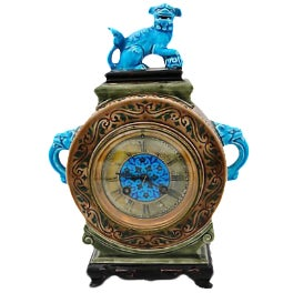Antique French Jules Vieillard Faience Clock W/ Foo Dog & Elephants