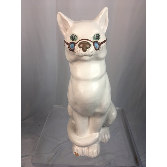 White Vintage Italian Cat Figuirne For Sale - Image 8 of 8