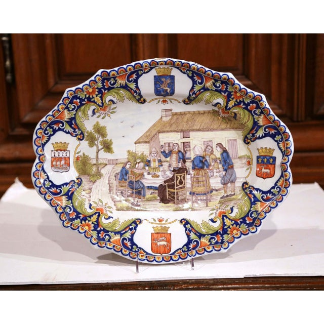 Large 19th Century French Hand-Painted Oval Faience Wall Platter From Brittany For Sale - Image 4 of 12