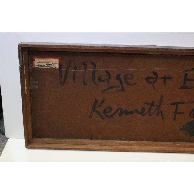 Abstract Vintage Mid-Century Kenneth Forman Village at Evening Painting For Sale - Image 3 of 8