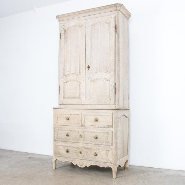 French Provincial Bleached Oak Buffet a Deux Corps For Sale - Image 10 of 13