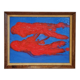 Red on Blue Abstract Oil on Board Painting by Pulgini For Sale