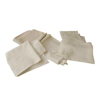 Antique 19th C. French White Linen Hand Towels - Set of 5 For Sale