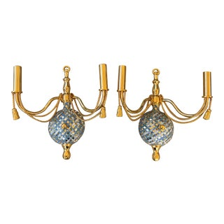 Gold Two Arm Light Sconce With Faux Marble Lattice - a Pair For Sale