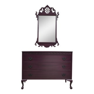 1950s Chippendale Style Dresser With Mirror - 2 Pieces For Sale