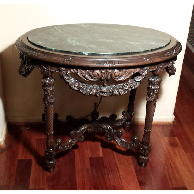 Marble Top Wood Carved Table - Image 2 of 4