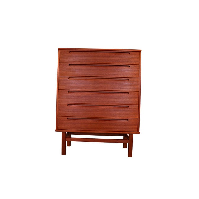 Beautiful Danish modern teak tall dresser/highboy/chest of drawers late 1960s designed by Nils Jonsson and manufactured by...