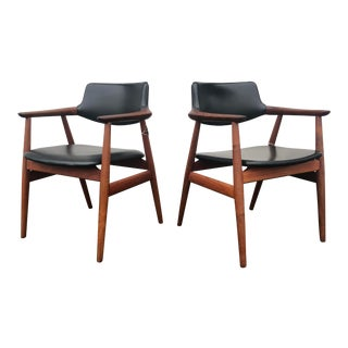 1960s Danish Modern Svend Age Eriksen Glostrup Teak Arm Chairs - a Pair For Sale