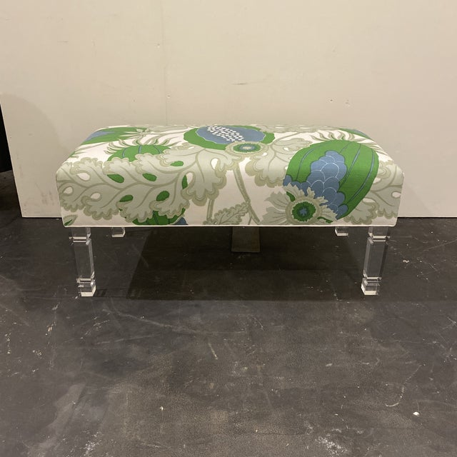 Custom Bench With Lucite Legs For Sale - Image 11 of 11