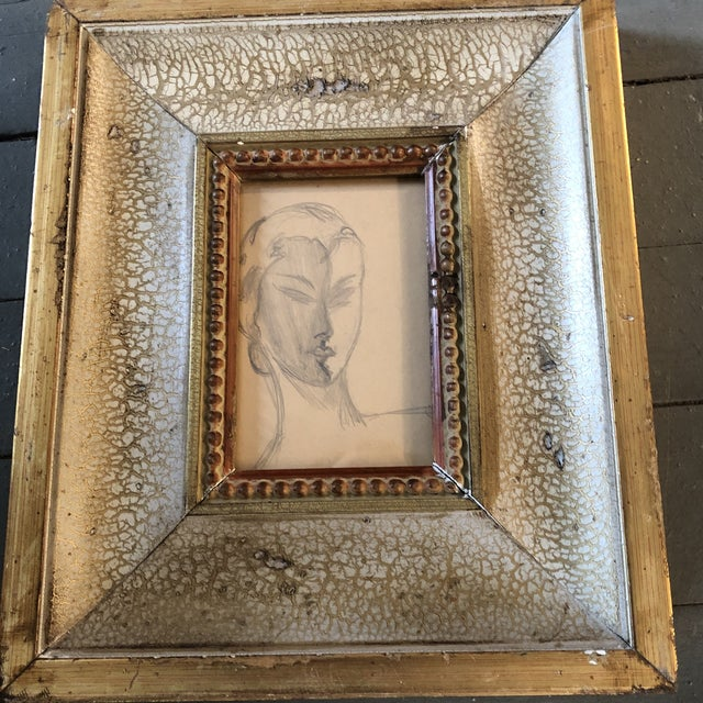 Collection of 3 vintage original charcoal Studies on paper Unsigned all in great vintage frames small 10 x 12 med 12.25 x...
