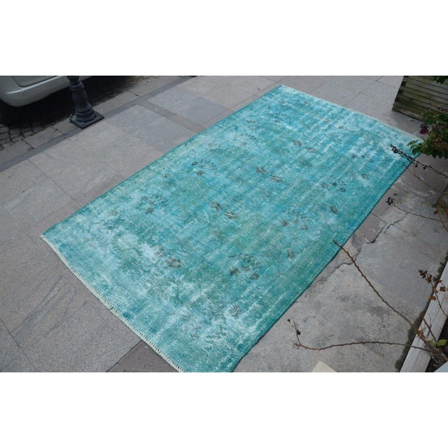 Overdyed Turquoise Rug - 5′2″ × 9′2″ For Sale - Image 5 of 6