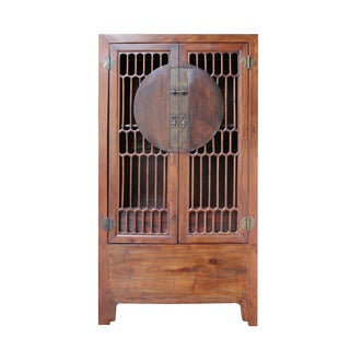 Chinese Brown Open Panel Storage Tall Cabinet Bookcase For Sale