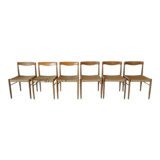 1960s Henry Klein Woven Papercord & Oak Chairs - Set of 6 For Sale