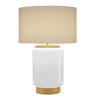 Milk Coloured Lamp With Shade For Sale