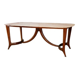 Guglielmo Ulrich Dinning Table MidCentury in Marble and Mahogany, 1950s For Sale