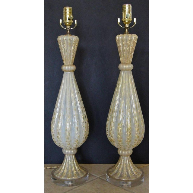 1950s Italian Arovier E Toso Gold Opalescent Murano Table Lamps - a Pair For Sale - Image 9 of 13