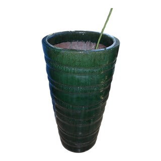 Vintage Mid Century Modern Large Tall Cylinder Tapered Glazed Terracotta Planter For Sale