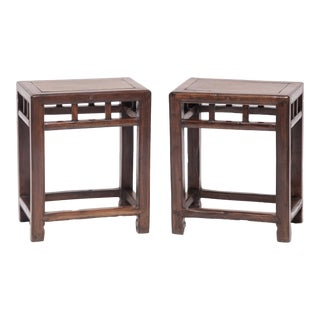 """19th Century Chinese Jia Zhen and Beech """"Half Stools"""" - a Pair For Sale"""
