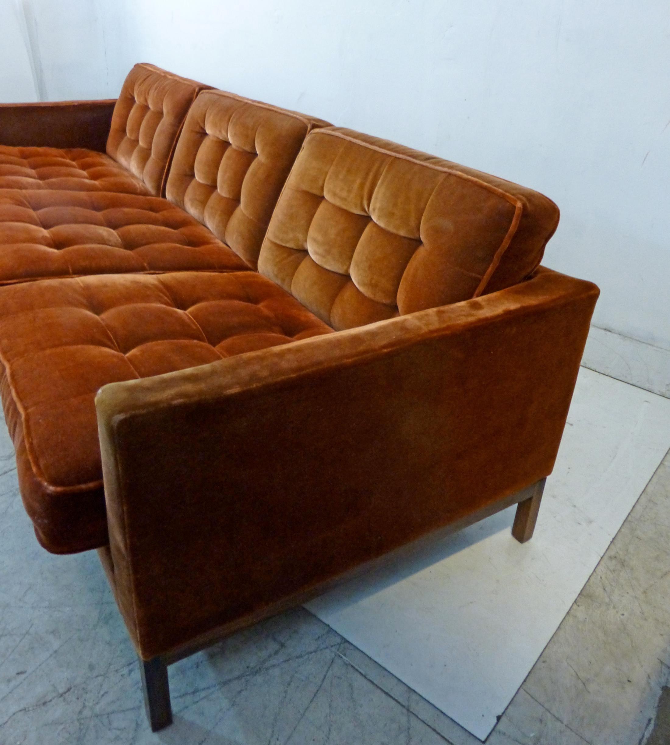 Vintage Florence Knoll Rosewood Base U0026 Mohair Sofa   Image 5 Of 11