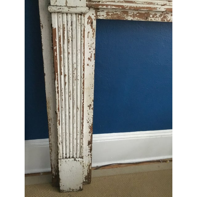 Antique White Antique Shabby Chic Wooden Mantel with Shelf For Sale - Image 8 of 11
