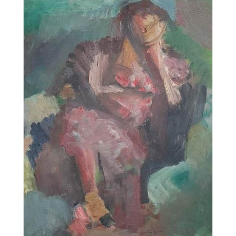 A little hard to explain! Each side of this 1957 artist's board has its own painting. We bought it for it's abstract...