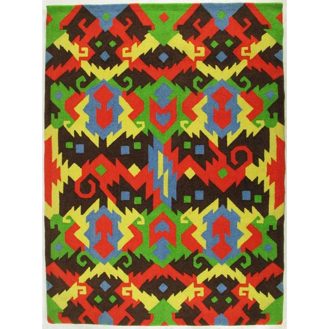 Mid-Century Modern Pair of Edward Fields 1972 Colorful Geometric 6' X 8' Rugs For Sale - Image 3 of 8