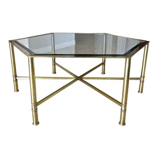 1960s Mid-Century Modern Mastercraft Hexagon Brass Glass Cocktail Table For Sale