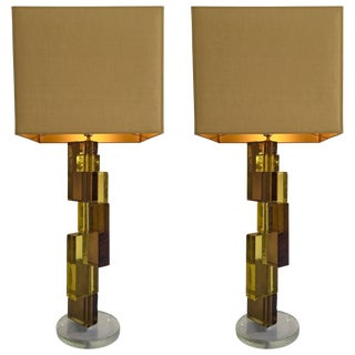 Contemporary Pair of Lamps Cubic Murano Glass and Brass For Sale