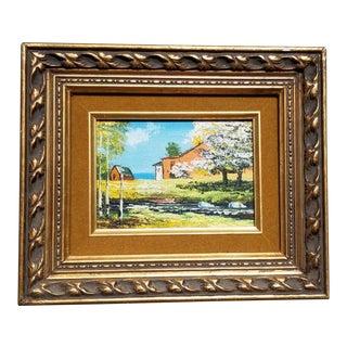 1960s Vintage Original Landscape Framed Painting For Sale