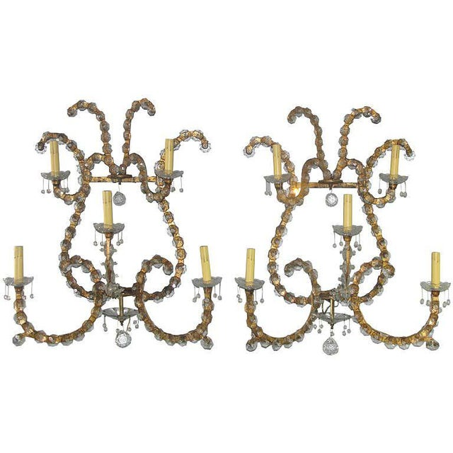 Gold Oversized Gilt Iron & Crystal Sconces Attrib. To Jansen - a Pair For Sale - Image 8 of 8