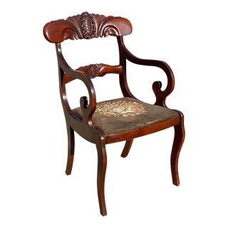 Antique Duncan Phyfe Victorian Carved Mahogany Floral Chair For Sale