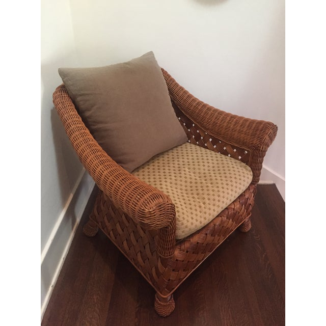 Asian Wicker Accent Chair: Asian Rattan Chair & Down Pillows