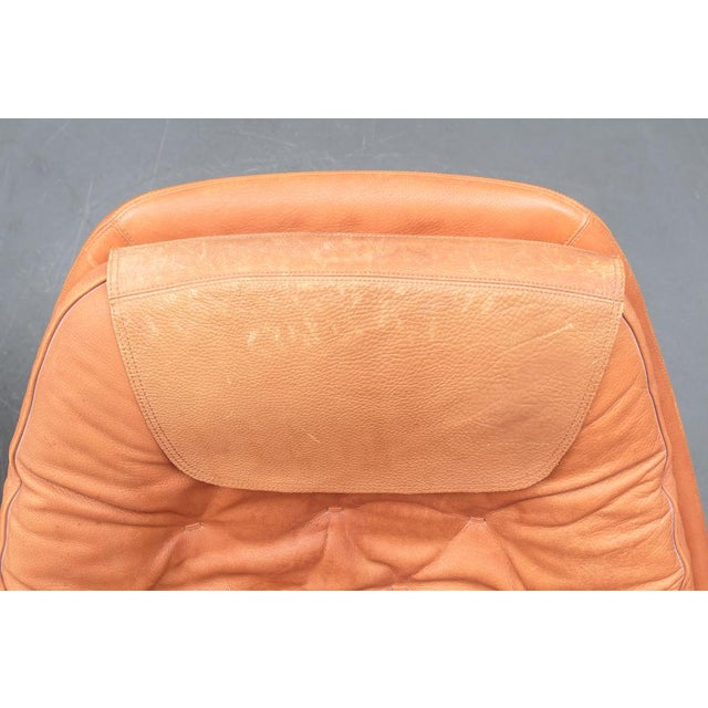 Danish Leather Swivel Chairs & Ottomans - A Pair For Sale - Image 9 of 11