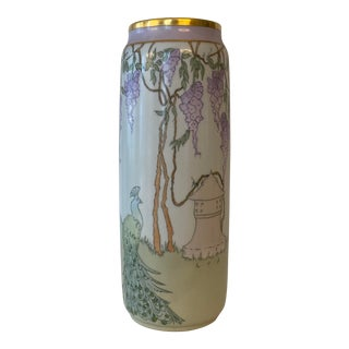 Early 20th C. Limoges Art Nouveau Porcelain Vase With Wisteria and Peacock Design, Signed For Sale