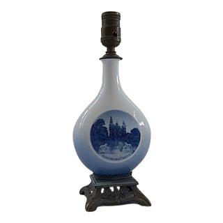 Royal Copenhagen Blue & White Porcelain Table Lamp For Sale