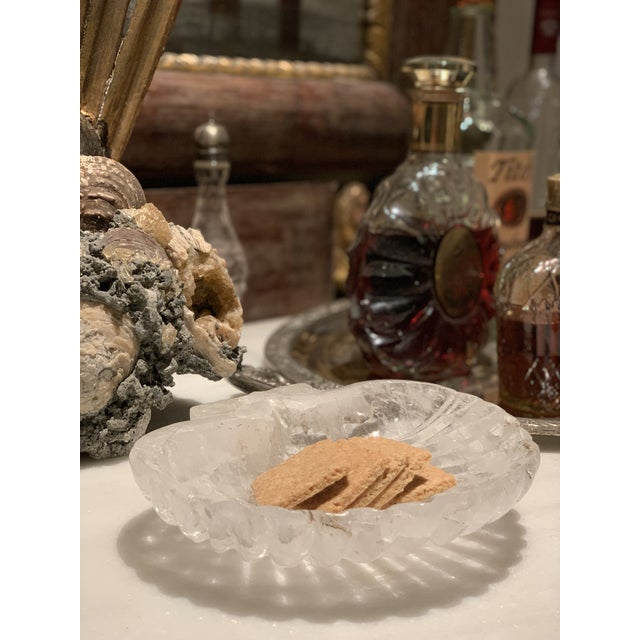 Vintage Carved Rock Quartz Crystal Shell Dish For Sale In Houston - Image 6 of 8