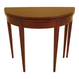 1960s Federal Biggs Inlaid Mahogany Flip Top Games Table For Sale