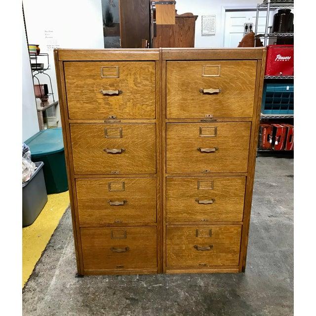 Goldenrod Antique Library Bureau Sole Makers Tiger Oak Double Filing Cabinet For Sale - Image 8 of 8